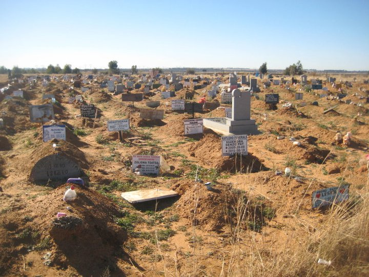 A local cemetery, which has seen an increase in graves due to HIV/AIDS